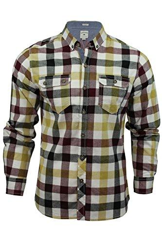 Herren kariertes Hemd von Lee Cooper `Hadleigh`langärmlig (Naturfarben) XL