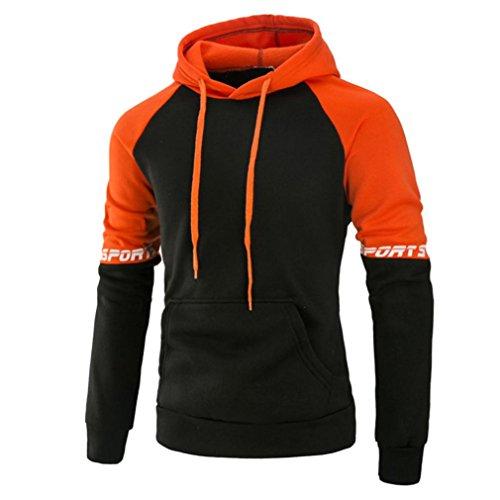 Hoodie Herren Kapuzenpullover Sannysis Sweatshirt Kapuzenpulli Pullover mit Kapuze (L, Orange)
