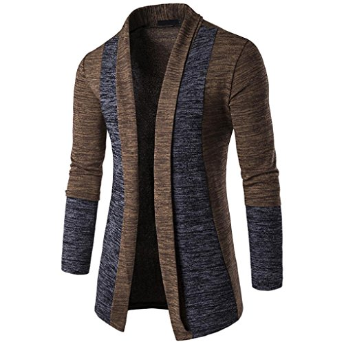Hoodie Mantel Herren Sunday Herren Herbst Winter Pullover Strickjacke Strick Cool Mantel Mode Lange Sweatshirt (Braun, M)