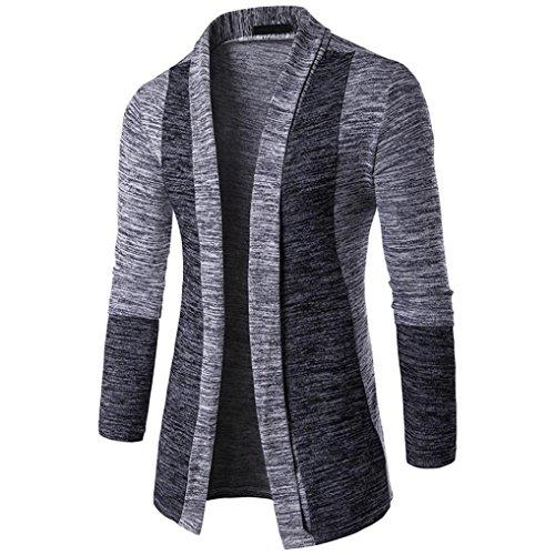 Hoodie Mantel Herren Sunday Herren Herbst Winter Pullover Strickjacke Strick Cool Mantel Mode Lange Sweatshirt (Grau, 2XL)