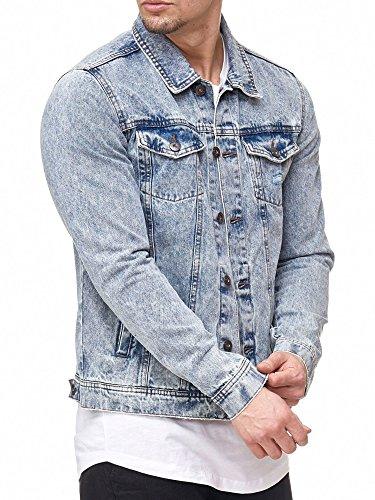 INDICODE Herren Bryne Jeansjacke Denim Übergangsjacke mit Stehkragen aus hochwertiger Baumwollmischung Washed-Out Stretch Denim Blue XXL