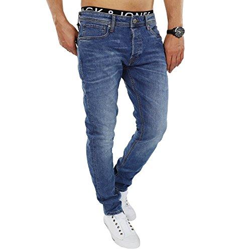 JACK & JONES Herren Jeans jjiTIM 085 Used Look Blue Denim Elasthan Slim Fit (32W / 34L, Blau (Blue Denim Fit:SLIM jjiTIM 078))