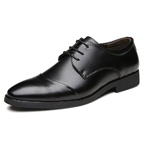 JOYTO Business Herren Anzugschuhe, Lederschuhe Schnürhalbschuhe Oxford Schuhe Smoking Lackleder Hochzeit Derby Leder Brogue Schwarz Braun 37-47 BK43