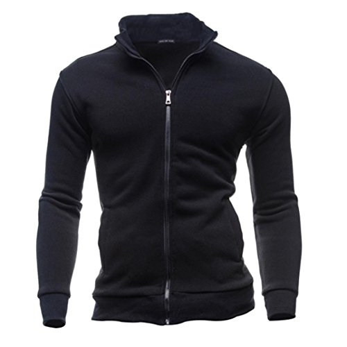 Jacke Mantel,Herren Herbst Winter Freizeit Sport Strickjacke Zipper Sweatshirts Tops (L, Schwarz)
