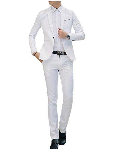 Jueshanzj Herren 2-Teilig Anzüge Freizeit Anzugjacke mit Anzughose Anzug set Weiß XL