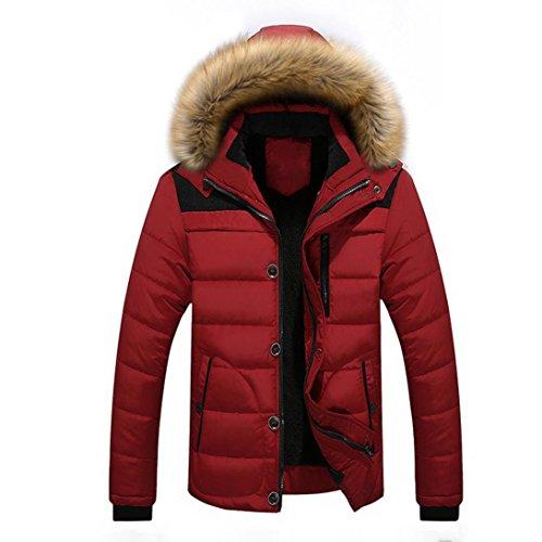 Kapuzen Herren,LMMVP Herren Outdoor Winterjacke Hoodie Kapuzenjacke (L, Red)
