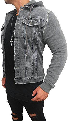 Kapuzen Jeansjacke Denim Jeans Jacke Kapuzenjacke Hoodie Herren Grau black biker motorrad Designer Blouson Sweat men leather flieger wende piloten jacket black slim fit NEU New (S, Grau)