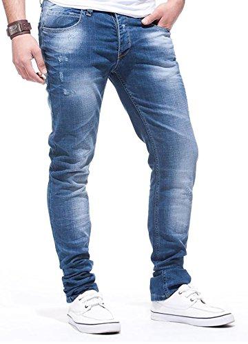 LEIF NELSON Herren Hose Jeans Stretch Jeanshose Freizeithose LN271; W38L30, Blau