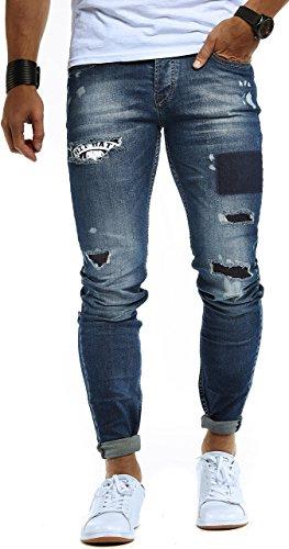 LEIF NELSON Herren Jeans Hose Jeanshose Stretch Blau Freizeithose Denim Slim Fit LN9940BL; W30L32, Blau