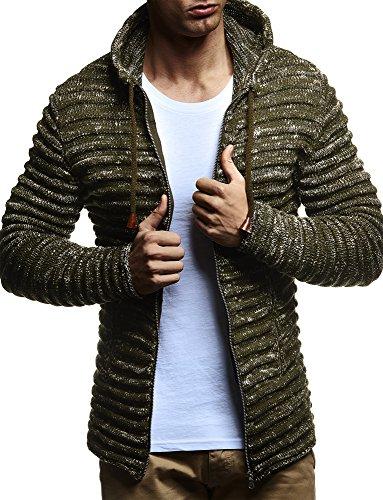 LEIF NELSON Herren Pullover Hoodie Strickjacke Kapuzenpullover Jacke Hoody Sweatjacke Zipper Sweatshirt Longsleeve LN20724; Größe L, Khaki
