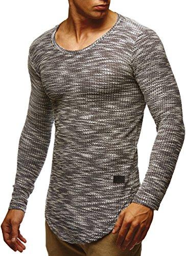 LEIF NELSON Herren Pullover Longsleeve Hoodie Basic Sweatshirt Hoodie Hoody Sweater LN6358; Größe L, Schwarz