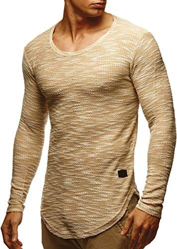 LEIF NELSON Herren Pullover Longsleeve Hoodie Basic Sweatshirt Hoodie Hoody Sweater LN6358; Größe M, Beige