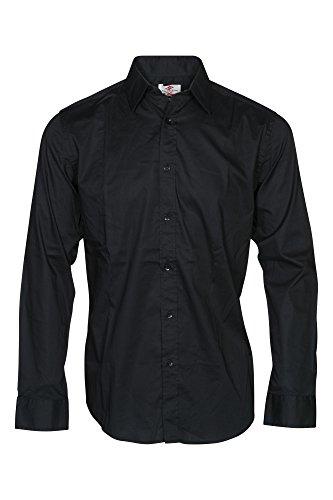 Lee Cooper Herren Freizeit-Hemd, Einfarbig Gr. Large, schwarz