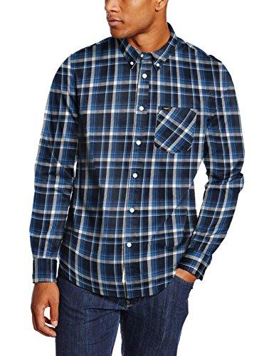 Lee Herren Freizeit Hemd Button Down, Blau (Dark Indigo CD), Kragenweite: 42 cm (Herstellergröße: L)
