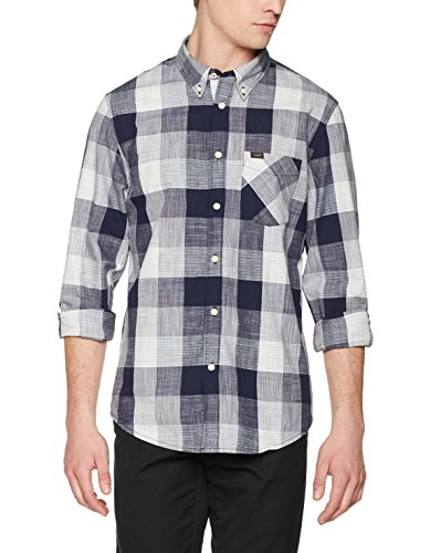 Lee Herren Freizeit Hemd Button Down, Blau (State Blue AP), X-Large