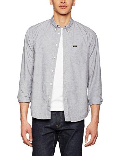 Lee Herren Freizeit Hemd Button Down, Grau (Dark Grey Mele 06), Kragenweite: 37 cm (Herstellergröße: S)