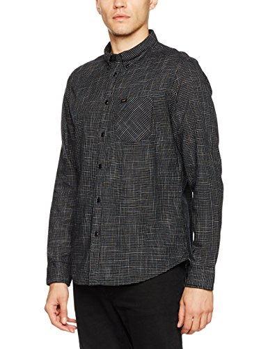 Lee Herren Freizeit Hemd Button Down, Schwarz (Black 01), XX-Large