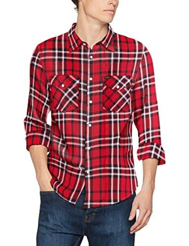Lee Herren Freizeit Hemd Western Shirt, Rot (Lava Red AF), Kragenweite: 42 cm (Herstellergröße: L)