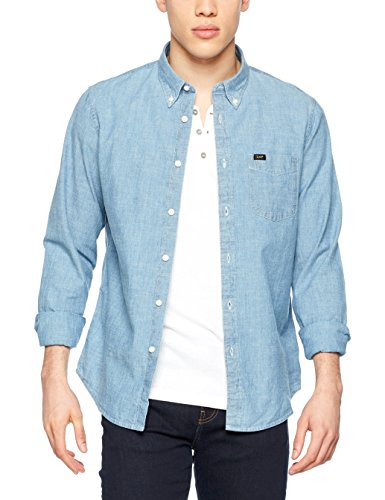 Lee Herren Freizeithemd Button Down, Blau (Light Blue Qxej), Small