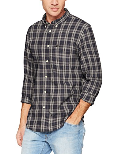 Lee Herren Freizeithemd Button Down, Blau (Navy Drop Gxee), X-Large