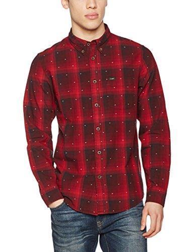 Lee Herren Freizeithemd Button Down, Rot (Dark Red LL), Kragenweite: 43 cm (Herstellergröße: XL)