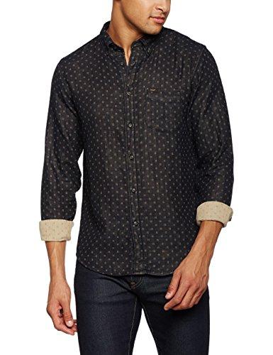 Lee Herren Freizeithemd Button Down, Schwarz (Black 01), Kragenweite: 45 cm (Herstellergröße: XXL)