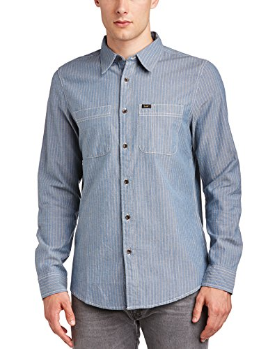 Lee Herren Freizeithemd Lee Worker Shirt, Einfarbig, Gr. Small, Blau
