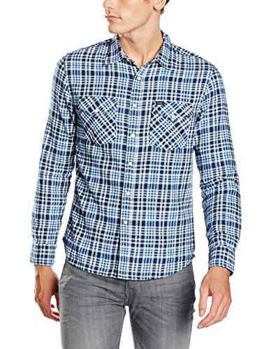 Lee Herren Freizeithemd Western Shirt, Blau (Navy 35), Kragenweite: 39 cm (Herstellergröße: M)