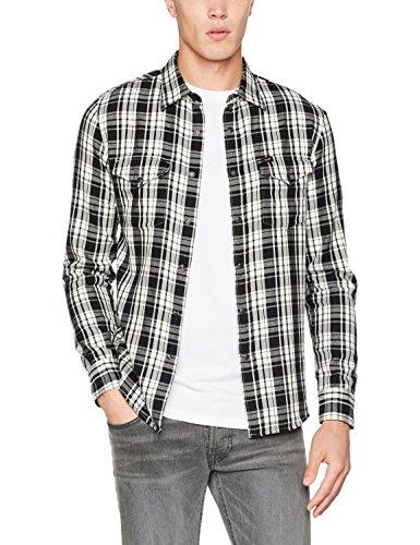 Lee Herren Freizeithemd Western Shirt, Schwarz (Black Cu01), 37 (Herstellergröße: S)