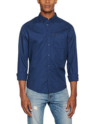 Lee Herren Langarmshirt Button Down, Blau (Deep Indigo Jqps), Kragenweite: 37 cm (Herstellergröße: S)