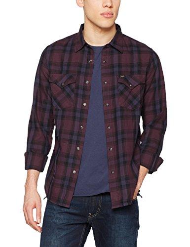 Lee Herren Langarmshirt Western Shirt, Violett (Deep Plum Kads), Large