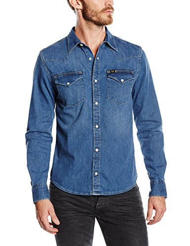 Lee Herren Slim Fit Freizeit Hemd Western Shirt, Gr. X-Large, Blau (Blue Stance VI)