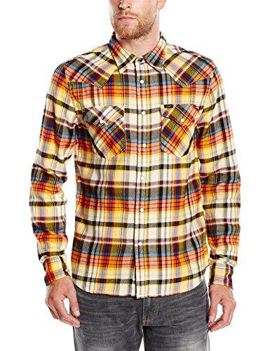 Lee Herren Slim Fit Freizeit Hemd Western Shirt, Gr. X-Large, Mehrfarbig (Burnt Ochre BH)