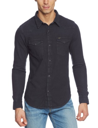 Lee Herren Slim Fit Freizeit Hemd Western Shirt, Gr. X-Large, Schwarz (Pitch Black GL)