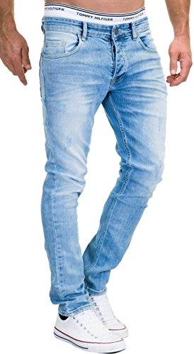 MERISH 5-Pocket Denim Jeans Herren Slim Fit Used Design Modell J3014 Hellblau 33-32