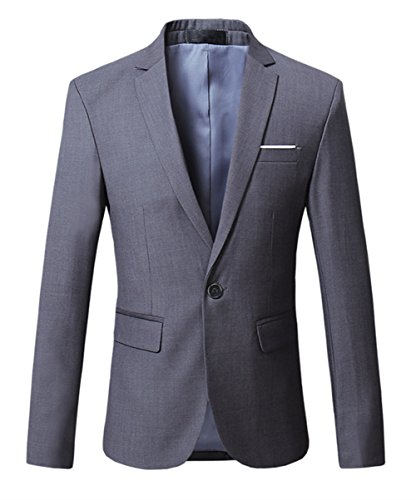 MOGU Herren Sakko Grauer Anzug Party Smokingjacke Anzüge Größe 50 (Asian Lable 4XL) grau
