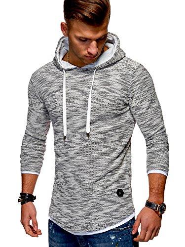 MT Styles Herren 2in1 Oversize Hoodie Pullover Kapuzenpullover MT-7424 [Grau, L]