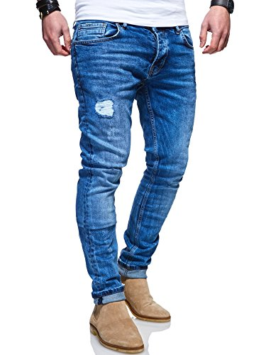 MT Styles Herren Jeans Slim Fit Hose JN-100 (Blau, W38/L34)