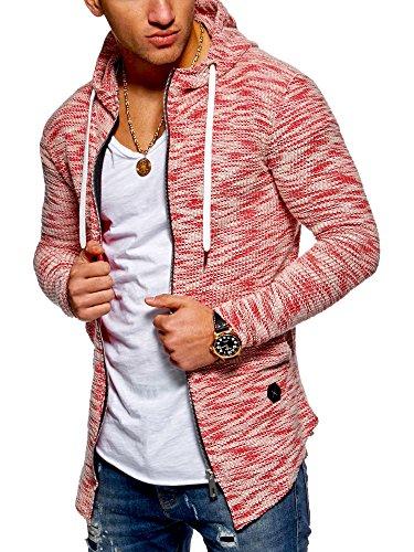 MT Styles Herren Strickjacke mit Kapuze Sweatjacke Kapuzenpullover Pullover MT-7531 [Rot, L]