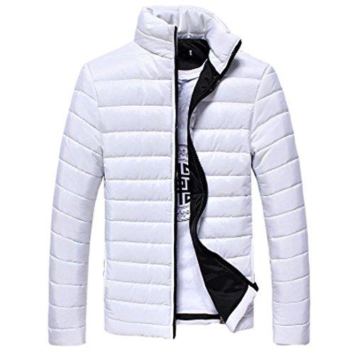 Manadlian Herbst Frühling Winter Männer Warm Stehkragen Schlank Winter Reißverschluss Gute Qualität Mantel Outwear Jungen Baumwolle Jacke (XL, Weiß)