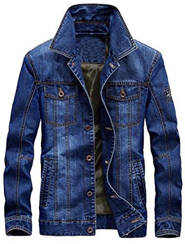 MatchLife Herren Herbst Winter Jeansjacke Classic Jacke-Style1-Hellblau-XL
