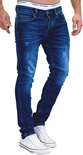Merish 5-Pocket Denim Jeans Stretch Used Look Skinny Modell 007 Dunkelblau 36-30