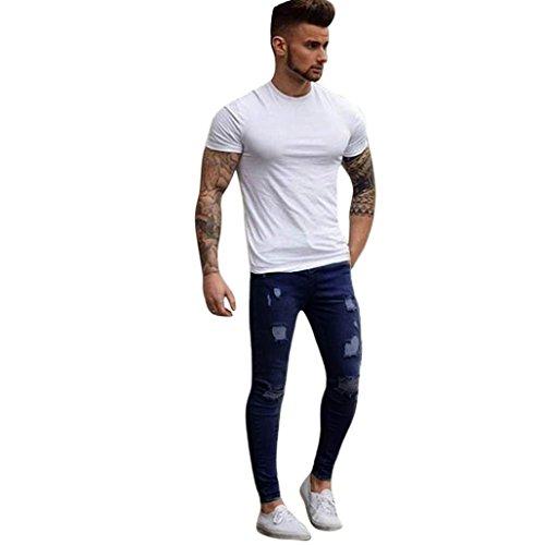 Männer Stretchy Ripped Skinny Jeans Slim Fit Denim Hosen von Sannysis (S, Dunkelblau)