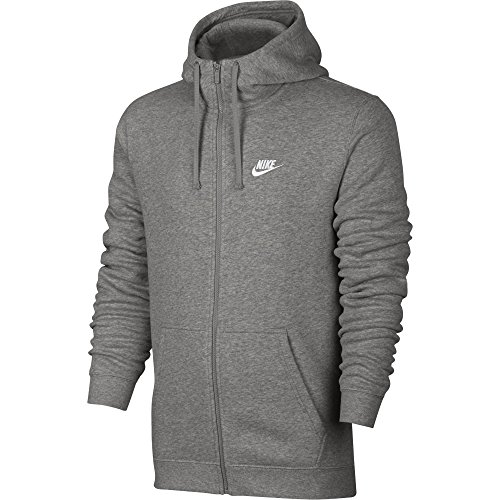 Nike Herren Unterjacke Kapuzenpullover Sweat Hoodie, Dark Grey Heather/Dark Grey Heather/White, L