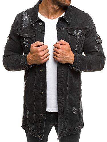 OZONEE MIX Herren Jeansjacke Übergangsjacke Jacke Denim Sweats Sweatjacke Frühlingsjacke Jeans Jacke OTANTIK 474K SCHWARZ L