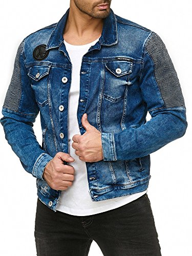 Red Bridge Herren Jeansjacke Biker Style Jeans Jacket Blue Denim Jacke Blau M6058 L