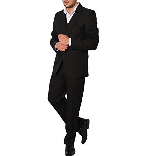 Regular Herren Anzug 3Teiler Sakko Hose Weste Büro Business Hochzeit H10 (64, Schwarz)
