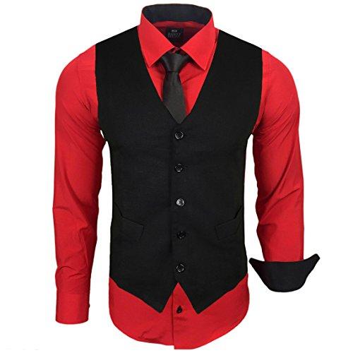 Rusty Neal Herren Anzug Weste Anzugsweste Sakko Weste Wählbar mit Hemd RN-44-HWK, Farbe:Rot;Größe:3XL