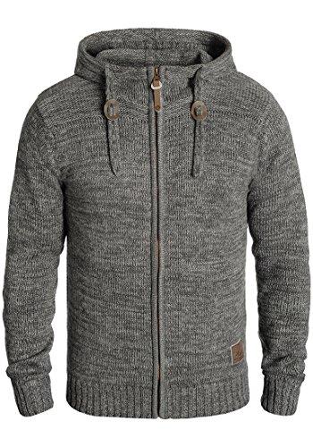 SOLID Pancras Herren Zip-Hoodie Strickjacke Cardigan mit Kapuze aus 100% Baumwolle Meliert, Größe:M, Farbe:Dark Grey (2890)