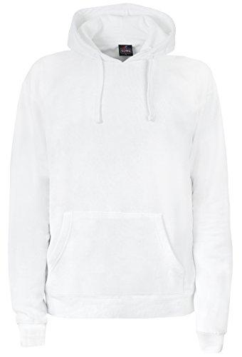 SUMG Kapuzenpullover Hoodie Kapuzen-Sweatshirt 'BASIC Hooded Pullover' (L, Weiß)